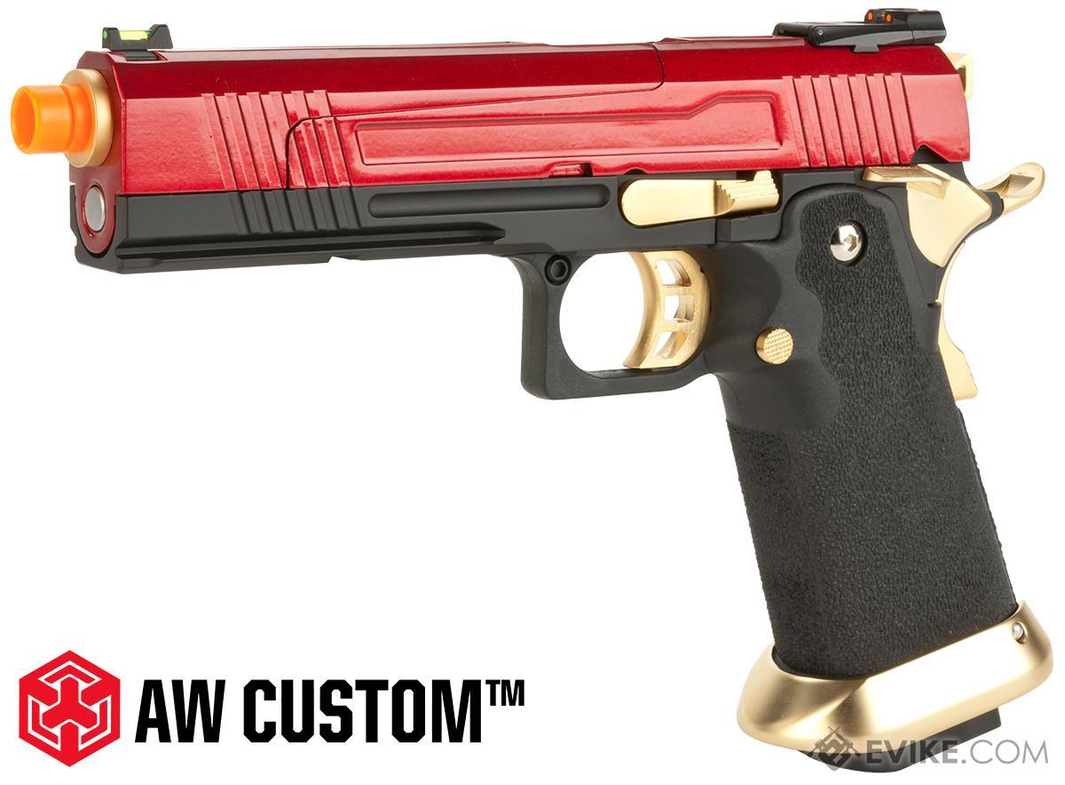 AW Custom Split Frame Hi-Capa Competition Grade Gas Blowback Airsoft Pistol (Color: Gold /Red)