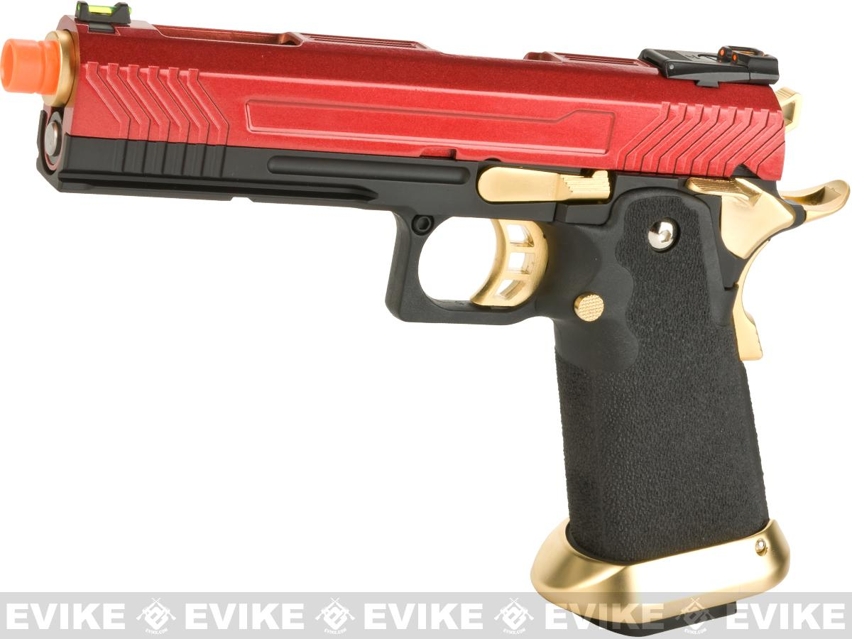 AW Custom Hi-Capa Competition Grade Gas Blowback Airsoft Pistol (Color: Red/Gold)