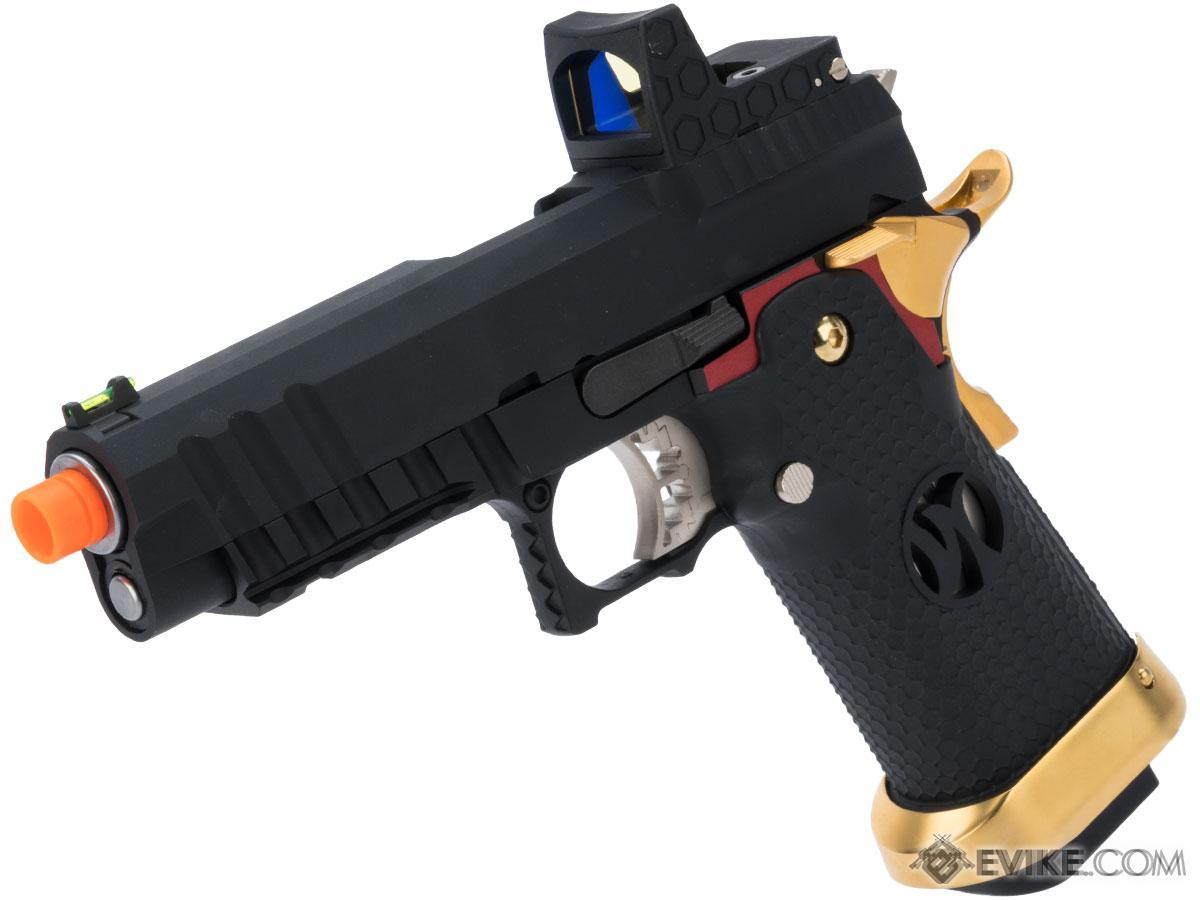 AW Custom Competitor Hi-CAPA Gas Blowback Airsoft Pistol (Package: Match King Compact / Black w/ Red & Gold Trim)