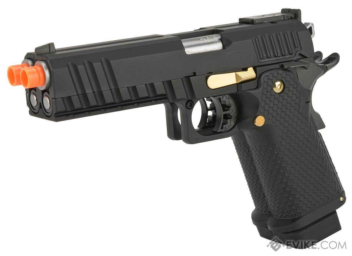 AW Custom Double Barrel Hi-Capa 1911 Gas Blowback Airsoft Pistol (Color: Black)