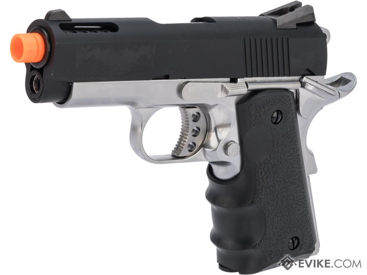 AW Custom NE10 Series 1911 Officer Size GBB Pistol (Color: Black Slide / Silver Frame)