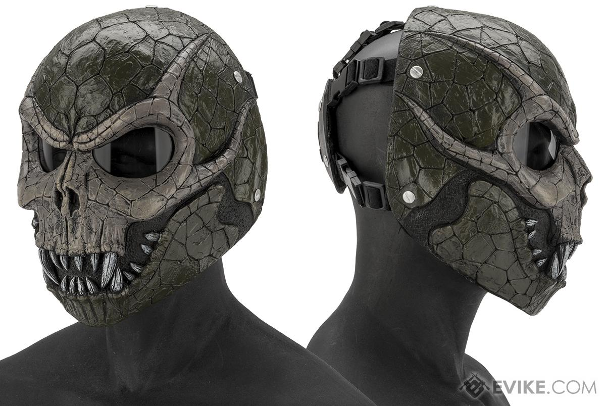 Evike.com R-Custom Fiberglass  Basilisk Full Face Mask with Smoked Lenses (Color: Grey Lens)