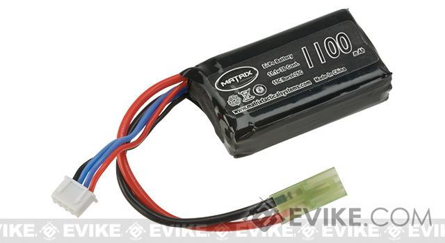 Matrix 11.1V 15C Continuous / 25C Burst 1100mAh High Performance PEQ-15 Type Airsoft LiPO Battery Pack