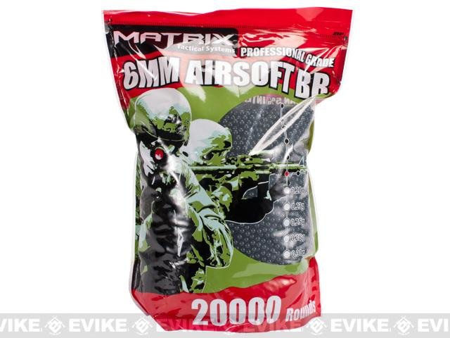 0.20g Match Grade 6mm Airsoft BB Bulk Buy Bag by Matrix (Color: Black / 20,000 rounds)