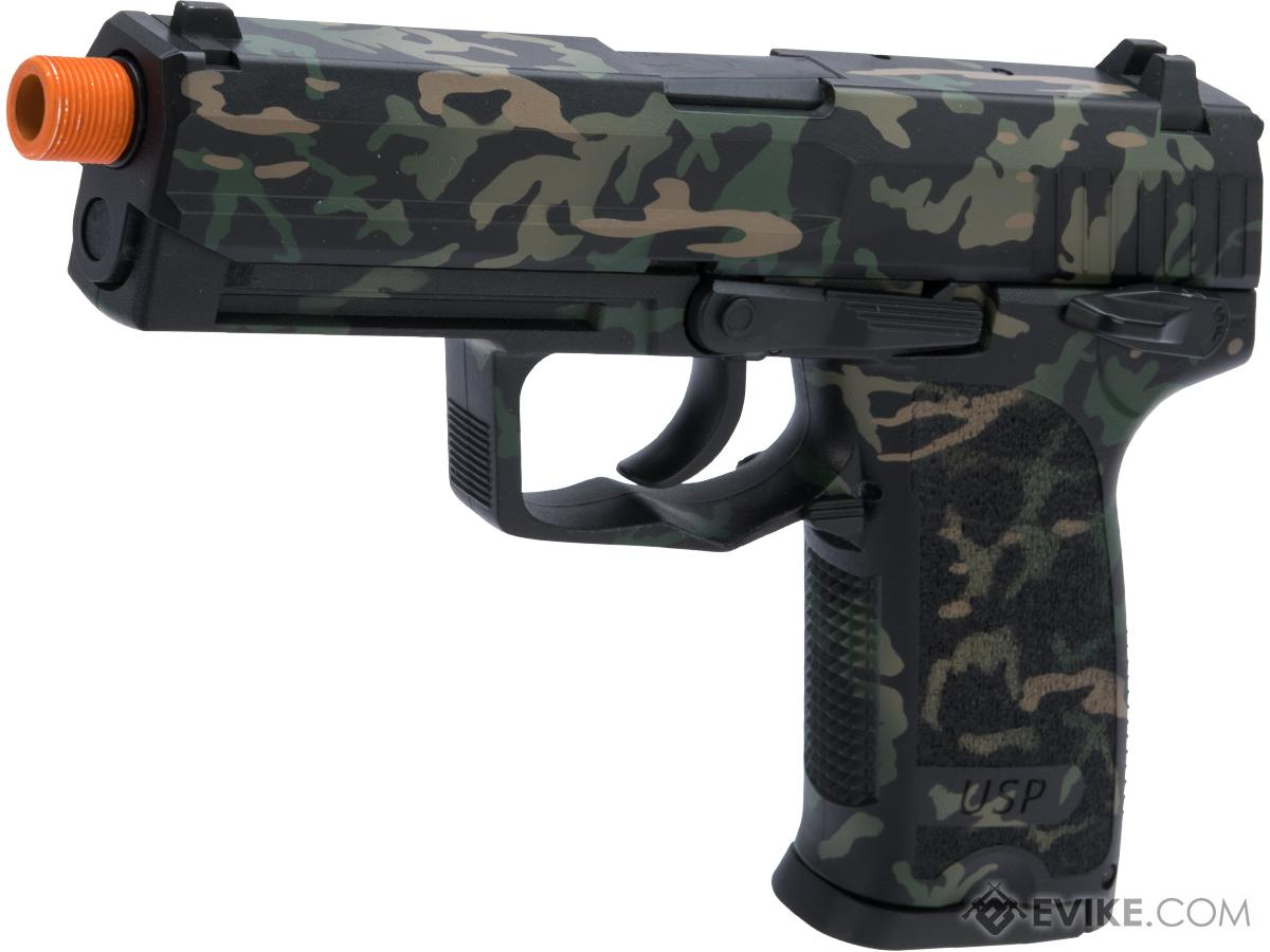Heckler & Koch / Umarex H&K USP Tactical Full Size CO2 Gas Blowback Pistol w/ Black Sheep Arms Custom Cerakote (Color: Modified Woodland Reversed)
