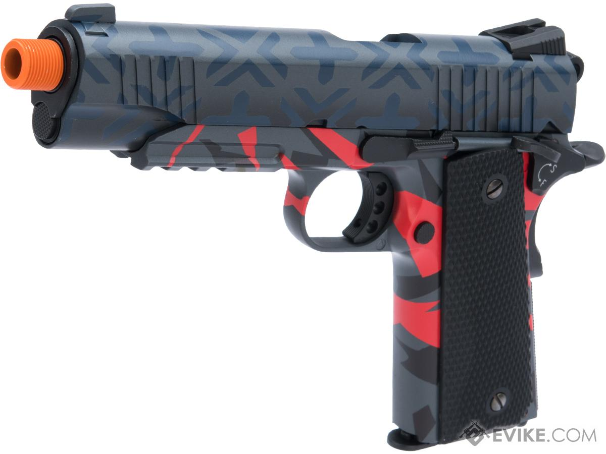 Elite Force Full Metal 1911 Tactical CO2 Airsoft Gas Blowback Pistol Umarex KWC w/ Black Sheep Arms Custom Cerakote (Color: Post Modern Fighter)
