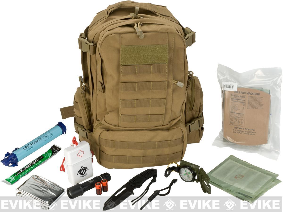 Evike.com Bug Out Bag / Survival Essentials - 12 Hour Bag (Color: Tan)