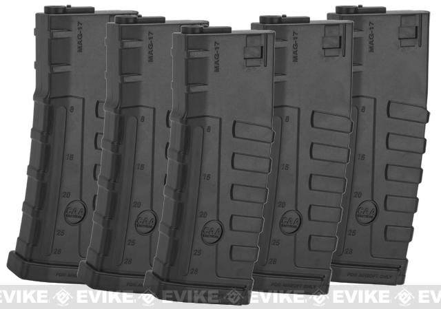Command Arms CAA Licensed 140rd Mid-Cap Magazine for M4 M16 AEG by King Arms (Color: Black / Set of 5)