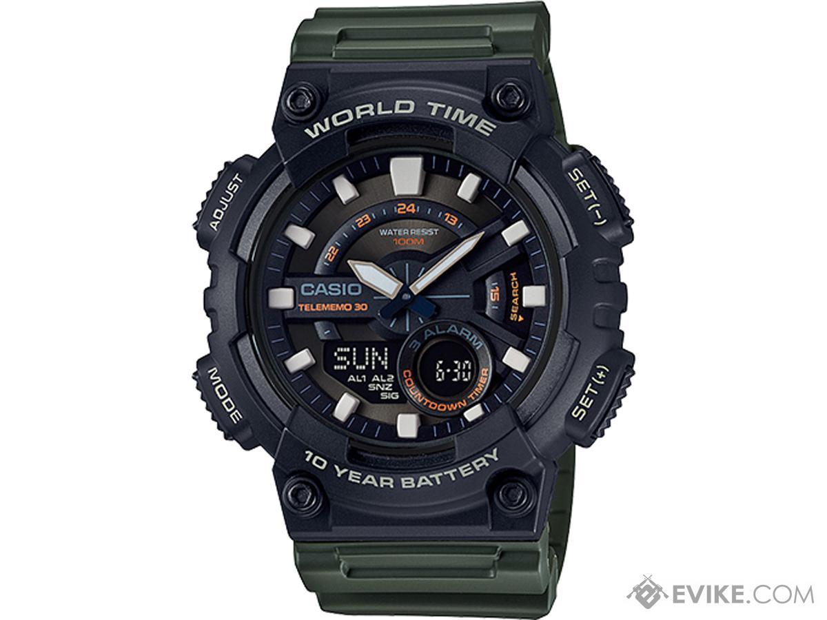 Casio Men's AEQ110W-3AV World Time Telememo Analog / Digital Watch (Color: Green)