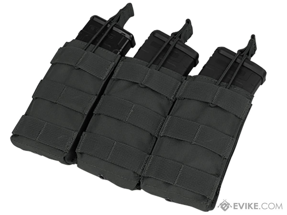 Condor MOLLE Pouches - Tactical Open Top Triple AR / M4 / M16 Mag Pouch (Color: Black)