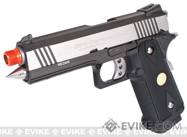 Evike Class I Custom WE 4.3 Rocket Hi-CAPA OPS Gas Blowback Pistol - Black / Stainless