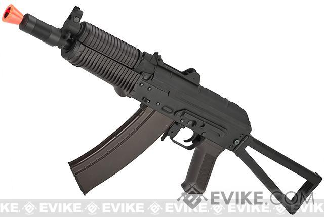 CYMA Stamped Metal AK74U w/ Folding Stock Airsoft AEG Rifle - Polymer Furniture (Package: Add Battery + Charger)