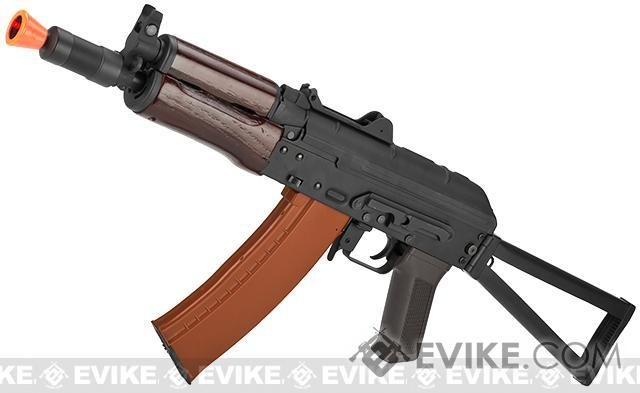 CYMA Stamped Metal AK74U w/ Folding Stock Airsoft AEG Rifle - Wood Furniture (Package: Add Battery + Charger)