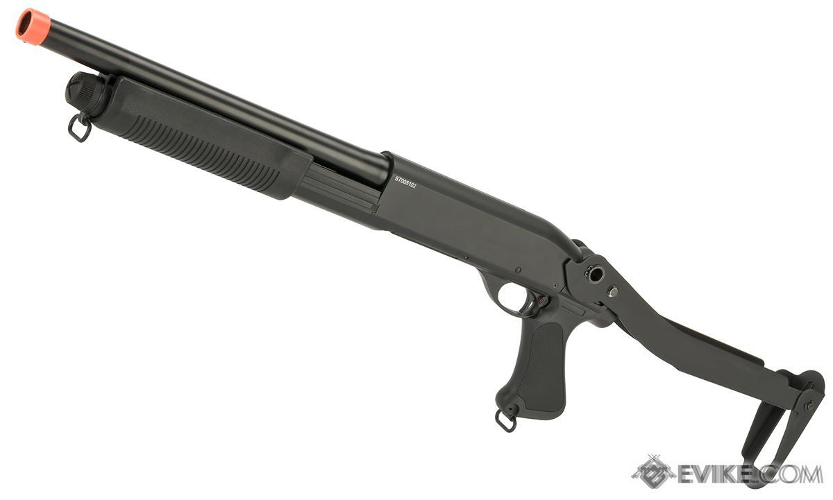 CYMA Standard Full Metal M870 3-Round Burst Multi-Shot Shell Loading Airsoft Shotgun (Model: Folding Stock Full Metal)