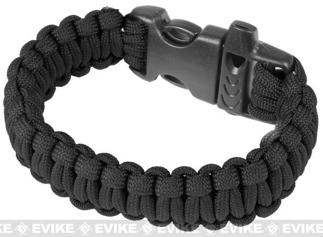 Evike.com Survival Paracord KING Cobra Bracelet w/ QD Whistle Buckle - (Black / 7.5)