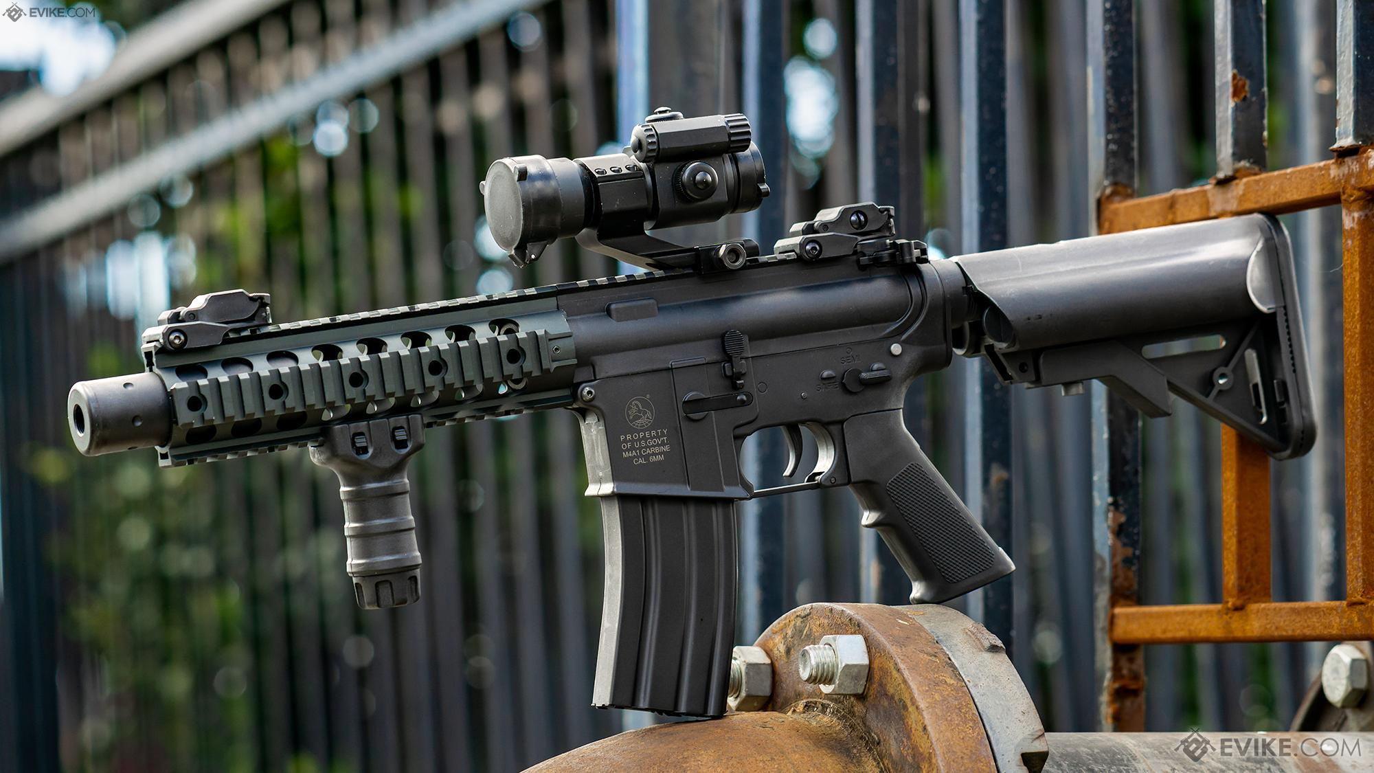 Colt Licensed Sportsline M4 Aeg By Cybergun Model M4 Sbr W 8 Quadrail Airsoft Guns Airsoft Electric Rifles Evike Com Airsoft Superstore