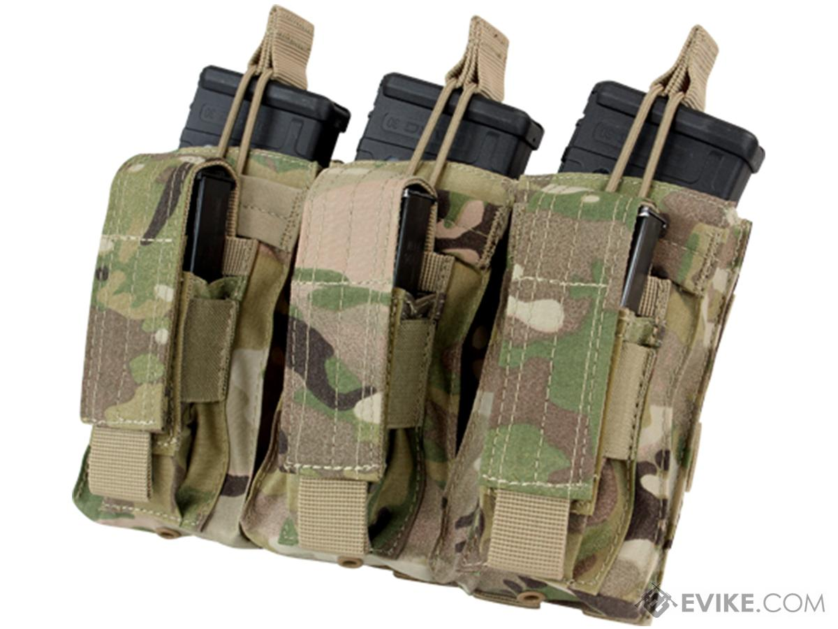 Condor Tactical Open Top Triple AR15 / M4 / M16 / 5.56 NATO w/ Triple Hook & Loop Flap Magazine Pouch (Color: Multicam)