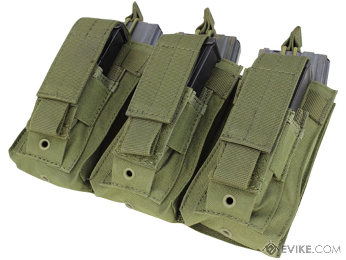 Condor Tactical Open Top Triple AR15 / M4 / M16 / 5.56 NATO w/ Triple Hook & Loop Flap Magazine Pouch (Color: OD Green)