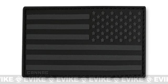 Cannae USA PVC Flag Patch - Black (Reversed)