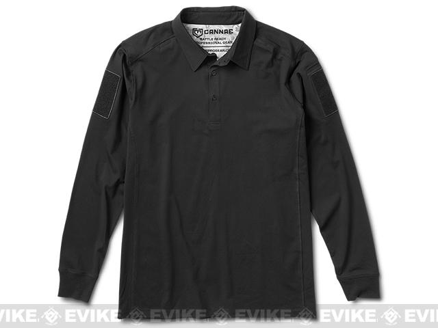Cannae Professional Operator Long Sleeve Cotton Polo Shirt - Black (Size: Medium)