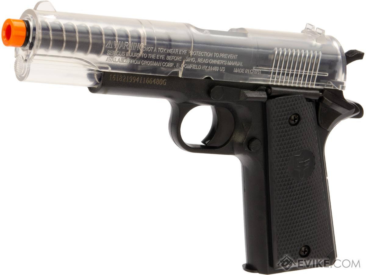 Game Face Stinger™ P311 Spring Powered Single Shot Military Style Airsoft Pistol (Color: Clear/Black)