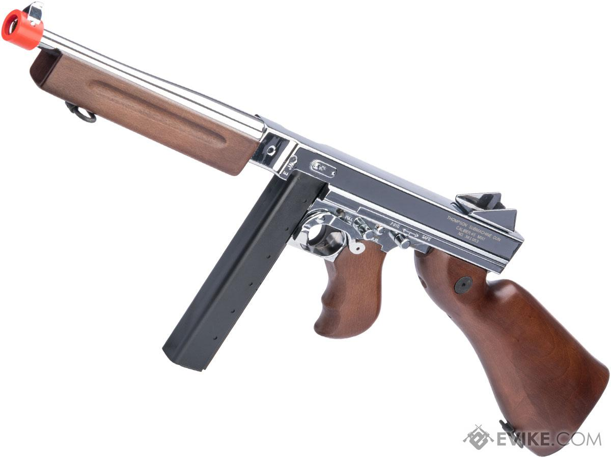 Thompson M1A1 Military Ultra Grade Plated Special Edition Airsoft AEG Rifle (Color: Nickel Plated Chrome / Real Wood)