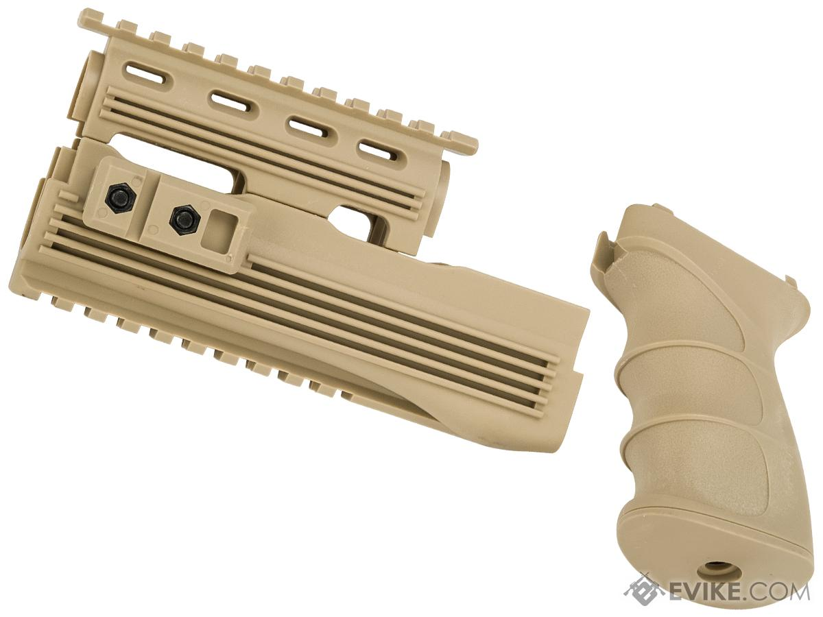Matrix Desert Storm AK47 Railed Handguard / AK47 Grip Set (Color: Desert Tan)