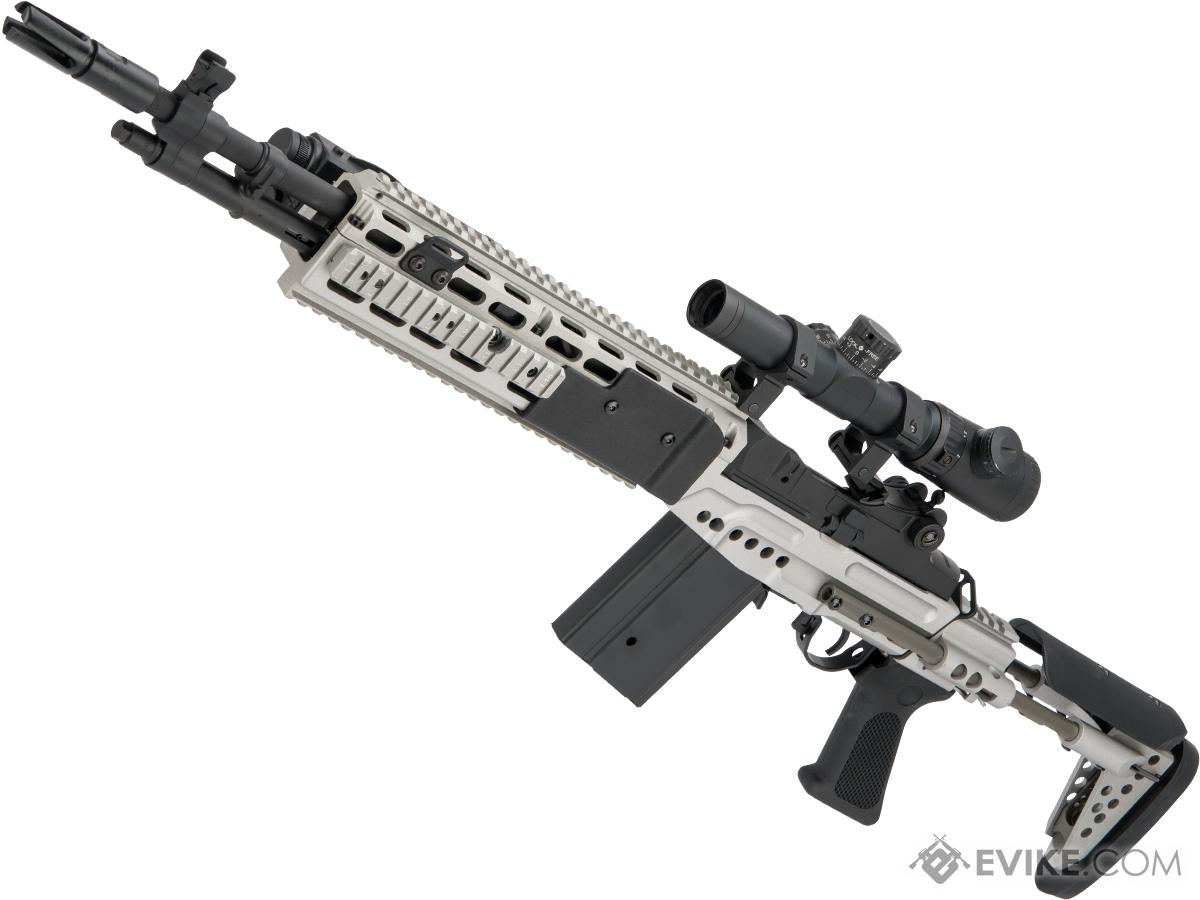 CYMA Full Metal M14 EBR Designated Marksman Rifle Airsoft AEG (Color: Silver / EBR Stock)