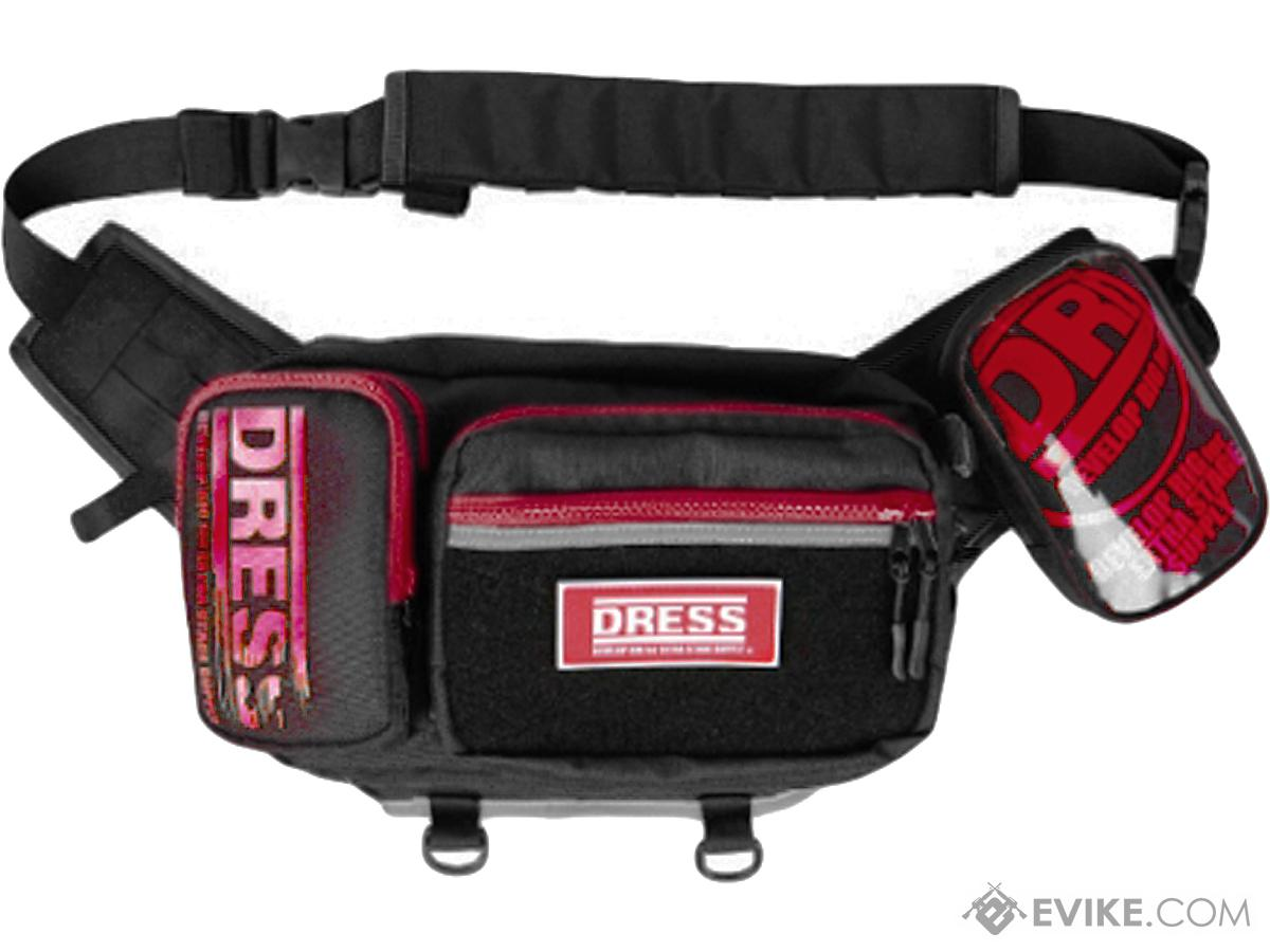 DRESS Waist & Shoulder 2-Way Fishing Bag PLUS (Color: Black / Red)