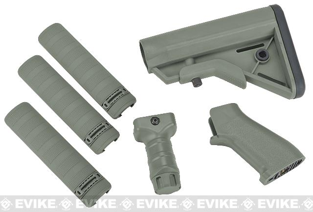 DYTAC SOPMOD Furniture Kit for M4 / M16 Series Airsoft Rifles (Color: Type A / Foliage Green)