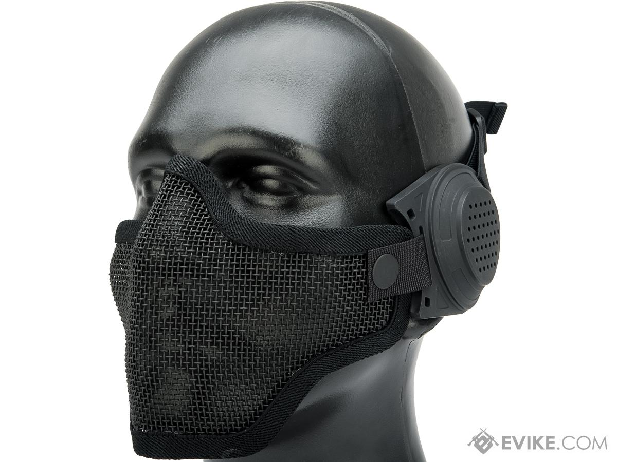 TMC Carbon Wire Mesh Lower Face Mask with Ear Protectors (Color: Black)