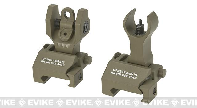 Echo1 Combat Flip-Up Front & Rear Iron Sights Set for Weaver / Picatinny / 20mm rails - Tan