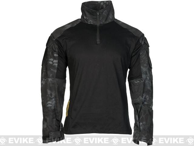 Emerson 1/4 Zip Tactical Combat Shirt - Black / Urban Serpent (Size: Medium)