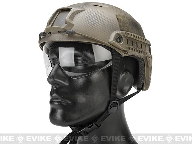 Matrix Basic Base Jump Type Tactical Airsoft Bump Helmet w/ Flip-down Visor (Color: Tan Navy Seal)