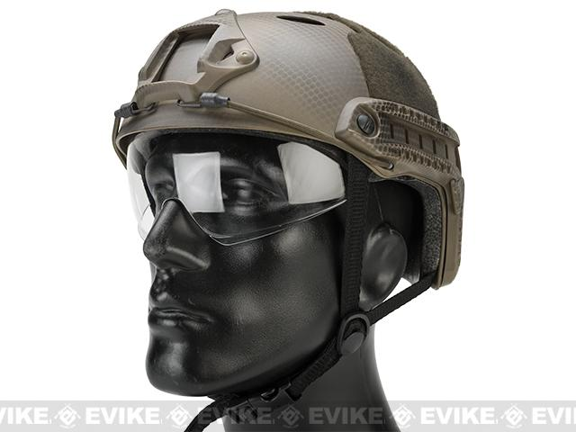 Matrix Basic PJ Type Tactical Airsoft Bump Helmet w/ Flip-down Visor (Color: Tan Navy Seal)