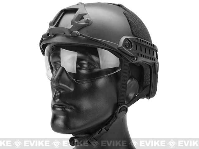 Emerson Bump Type Tactical Airsoft Helmet w/ Flip-down Visor (MICH Ballistic Type / Basic / Black)