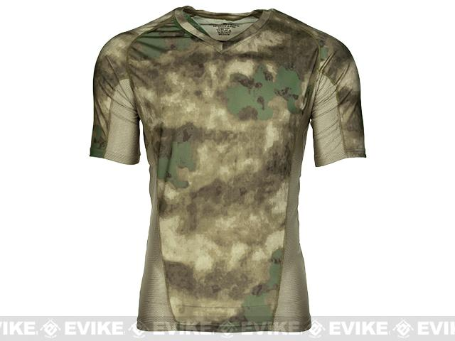 Emerson Skin-tight Base Layer Camo V-Neck Running Shirt - Arid Foliage (Size: Medium)