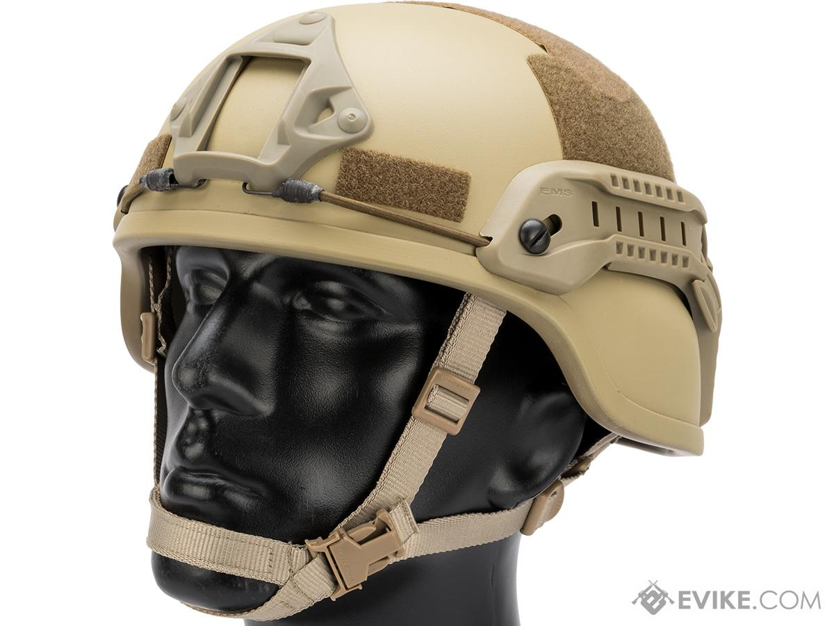 Emerson MICH 2000 Helmet with NVG Mount & Side Rail (Color: Tan)