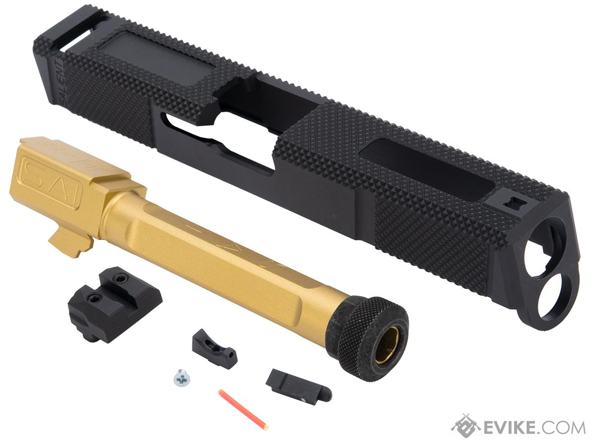 EMG SAI Utility Slide Set for GLOCK 17 Series GBB Pistols (Type: Black Slide / Gold Barrel)