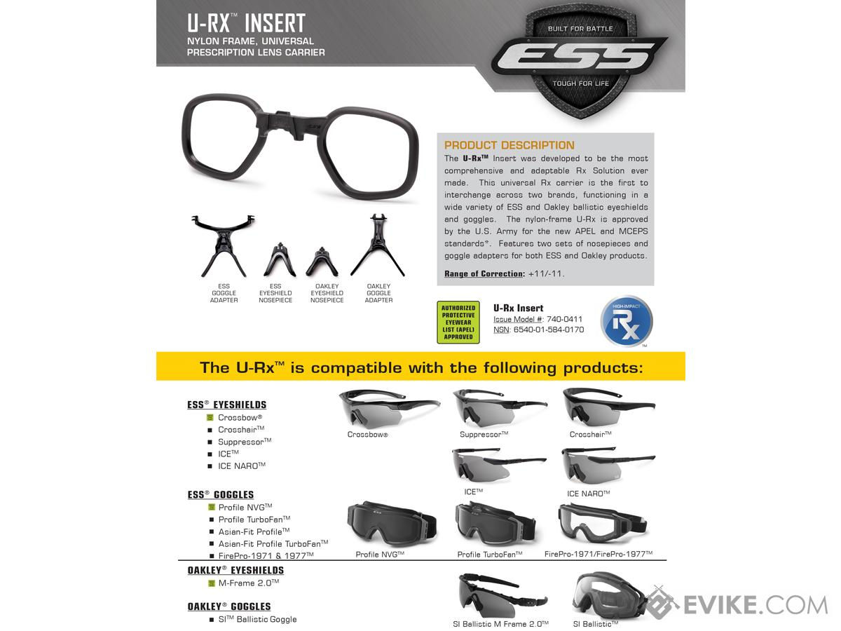 b167d4645b ESS U-RX Prescription Lens Insert for ESS and Oakley Eyewear and Goggles.  Hover or touch above to zoom. Product image 1 Product image 2