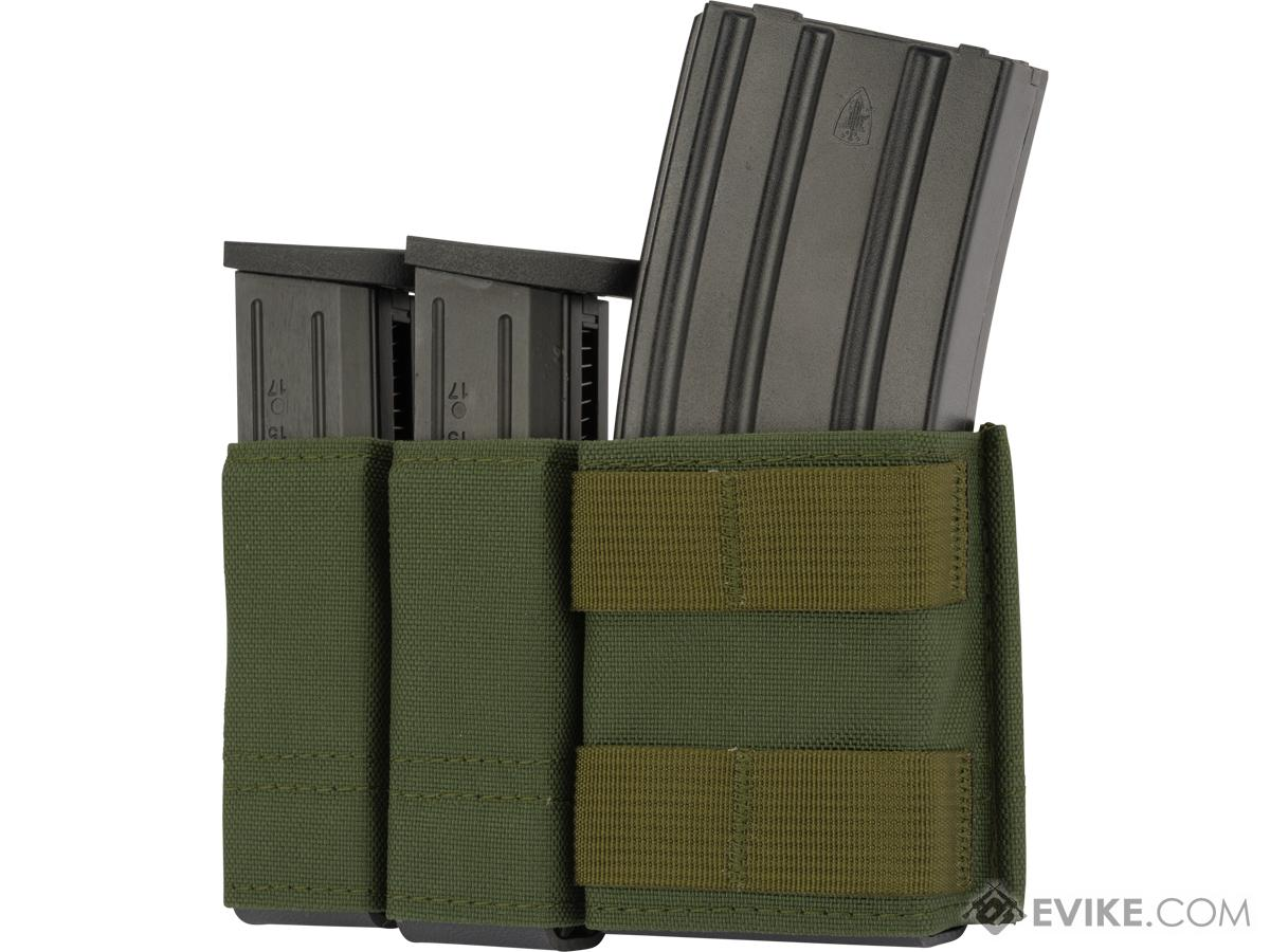 Esstac Side-BY-Side 1+2 5.56 / Double Stack Pistol KYWI Mag Pouch w/ WTF Straps (Color: OD Green)