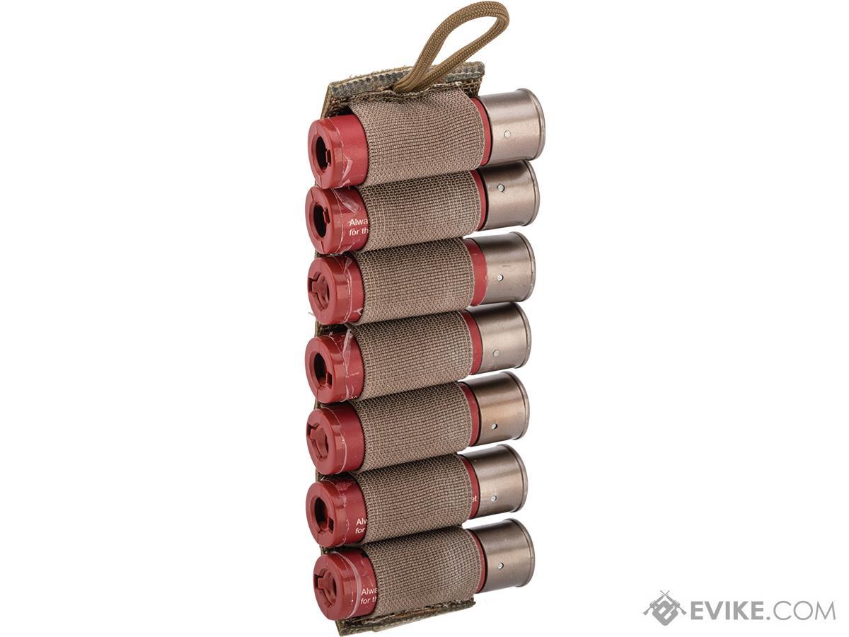 Esstac 7rd 12ga Shotgun Shell Card with Sticky Back Hook & Loop (Color: Coyote Brown)