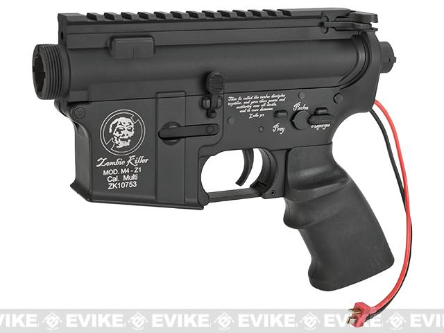 G&P Complete M4 Metal Receiver & Gearbox Airsoft AEG ProKit (Zombie Killer) - Rear Wire / Black