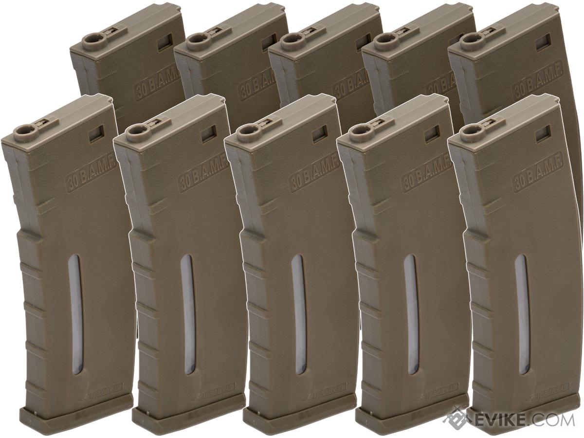 Evike.com BAMF 190rd Polymer Mid-Cap Magazine for M4 / M16 Series Airsoft AEG Rifles (Color: Tan / Pack of 10)
