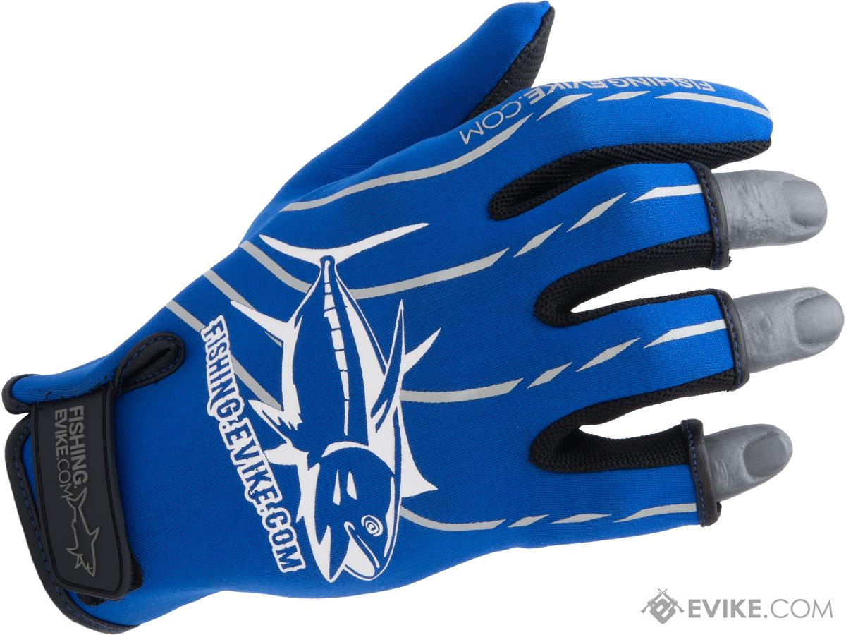 Fishing.Evike Shark Skin 3-Finger Deep Sea Fishing Gloves (Style: Blue / Large)