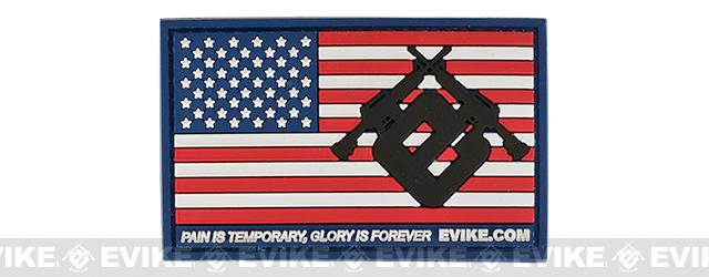 Evike.com US Flag PVC Hook and Loop Patch (Color: Full Color / Regular)