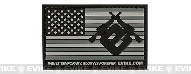 Evike.com US Flag PVC Hook and Loop Patch (Color: Grey / Regular)