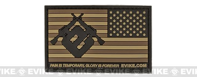 Evike.com US Flag PVC Hook and Loop Patch (Color: Tan / Reversed)
