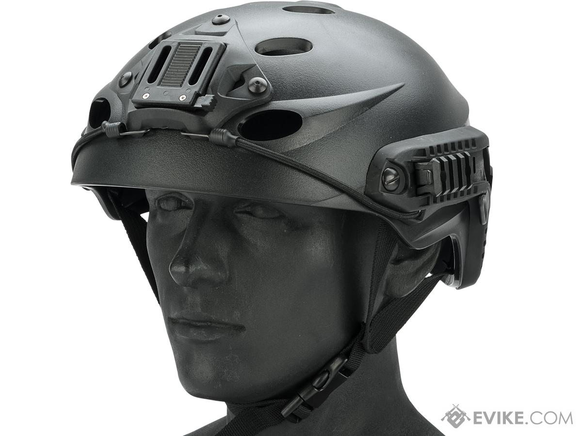 FMA Special Force Recon Tactical Helmet with ARC Rails and NVG Hood (Color: Black)