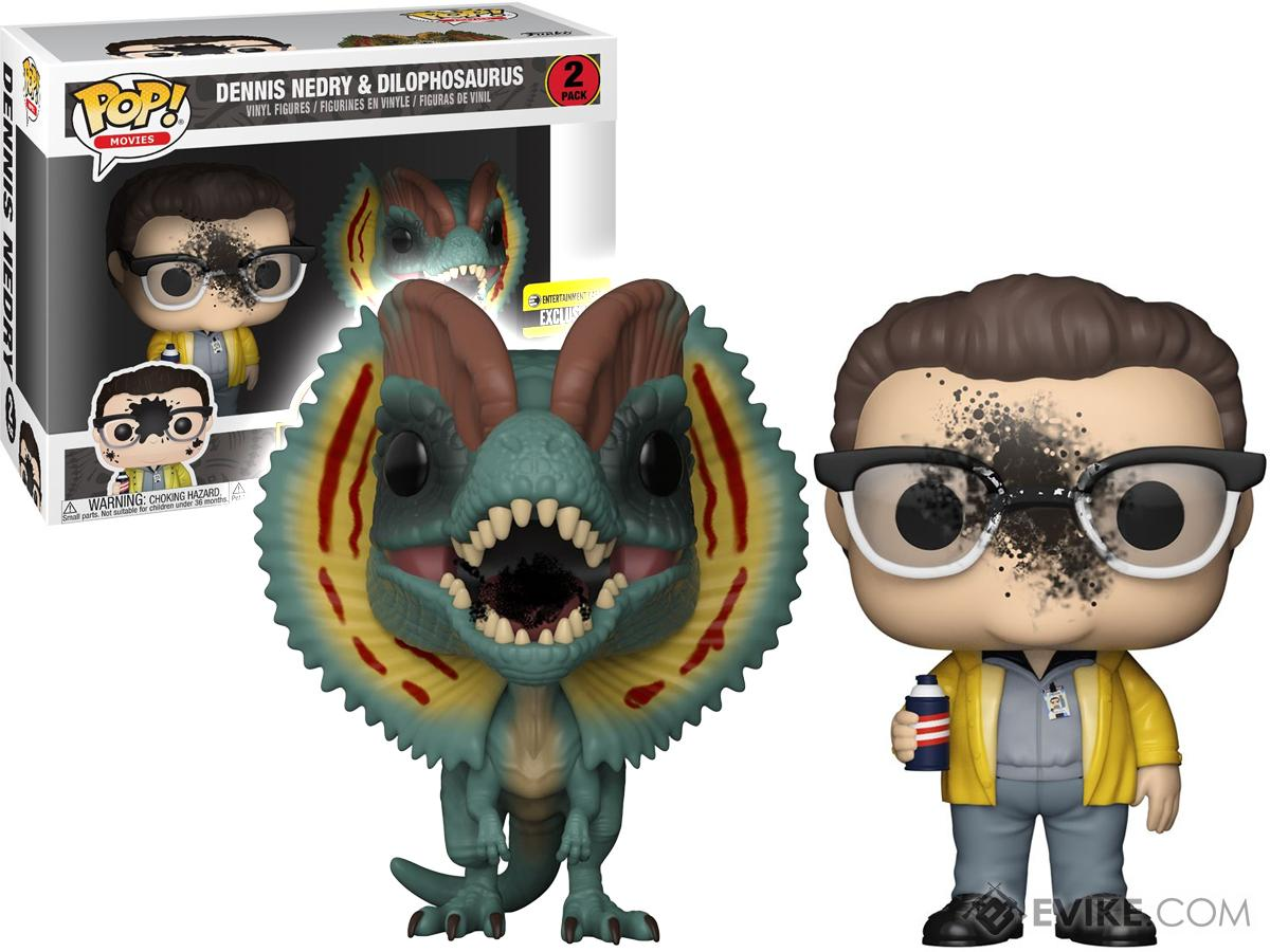 Funko POP! Jurassic Park Dennis Nedry and Dilophosaurus Goo-Splattered Vinyl Figure 2-Pack EE Exclusive